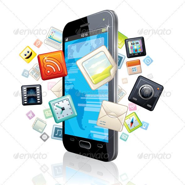 Multimedia Smart Phone by PILart Touchscreen Smartphone with Cloud of Media Application Icons. - vector illustration, only simply linear and radial gradients used