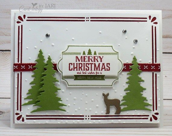 I used the Labels to Love stamp set from the upcoming 2017 Holiday Catalog for another sneak peek for you today. Do you also recognize the Card Front Builder Thinlets from the Carols of Christmas Bu