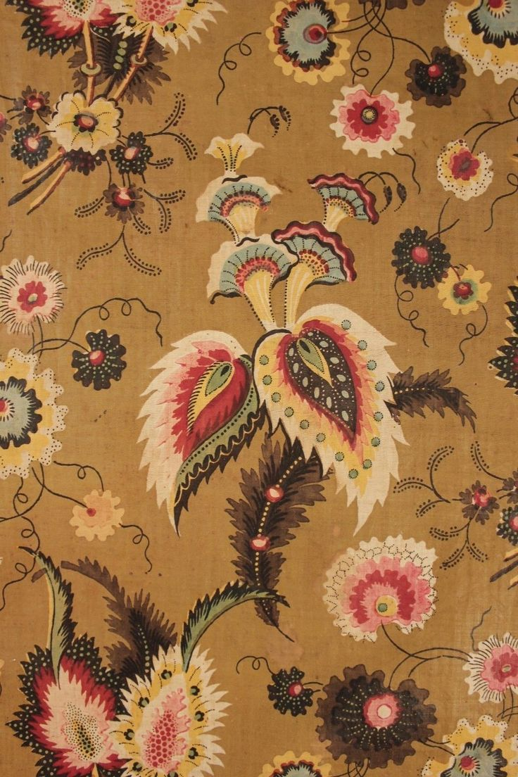 Antique French c1830 Printed Chintz Cotton Stunning Design Jouy Fabric Chintz | eBay loodylady