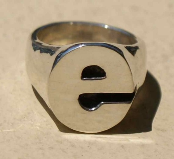Letter e Initial Ring by emilywinston on Etsy, $195.00