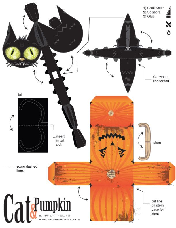 Blog Paper Toy papertoys Cat Pumpkin template preview Cat and Pumpkin paper toys (x 2)