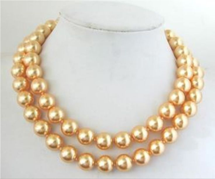 DIY Lovely 10mm Gold-Color South Sea Shell Pearl Necklace Pearl Beads Fashion Jewelry Rope Chain Necklace Natural Stone 34INCH #Affiliate