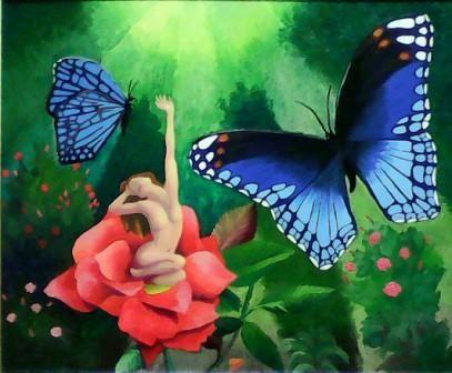 Morning Flutter - oil on board painting