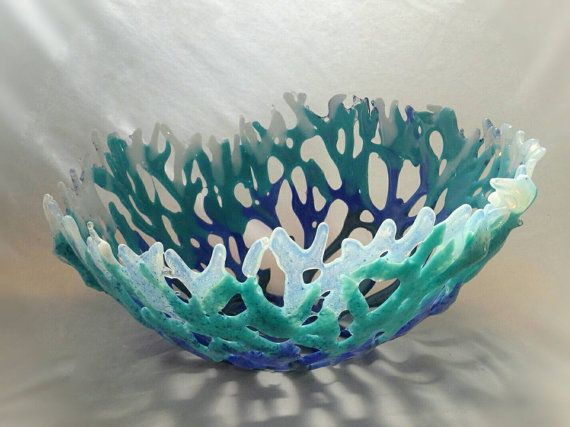 Large Coral Bowl Center Piece made from by KendraSchneiderglass