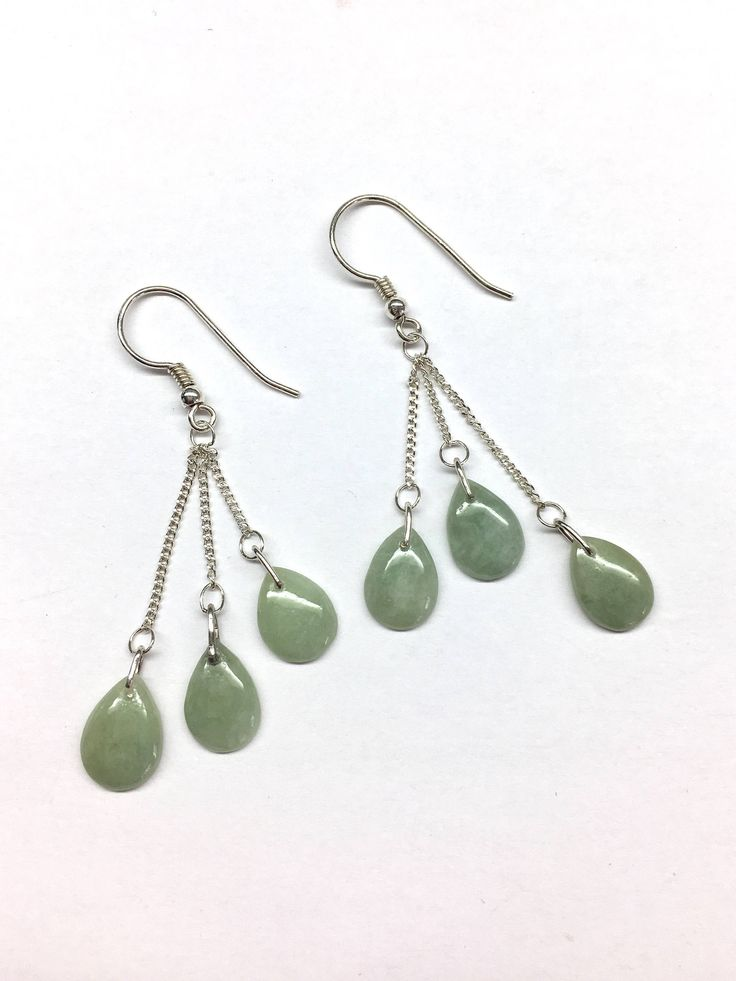 Jade Earrings - Natural Colour Green Tear Drop Shaped Jade 925 Sterling Silver Chain Earrings by RitaCollection on Etsy