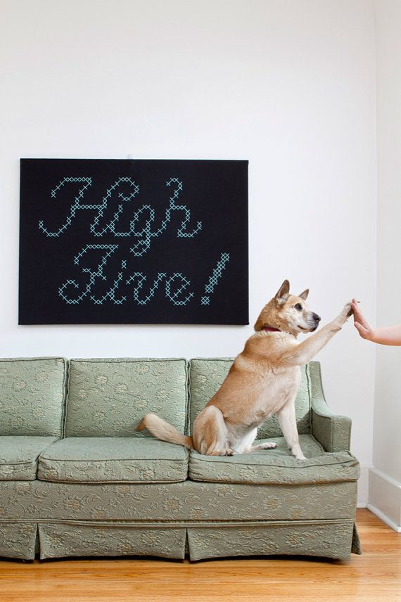 Giant High Five CrossStitch by jdmakesthings on Etsy,: Giant Cross Stitch, Highfive, Craft, Crossstitch, Crosses, Dog, Cross Stitches, Animal