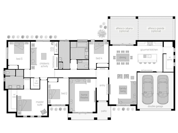 Clarence Floor Plan - The perfect balance between country charm and modern living You might be familiar with that sigh of relief you experience when you first walk into a holiday home or hotel and realise that it is as luxurious and relaxing as you imagined, perfect for your short stay? Imagine feeling that same sense of contentment and comfort every single day. The Clarence creates that idyllic lifestyle through its beautifully intelligent and spacious floorplan.