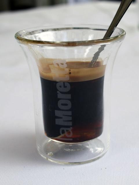 La Moretta: coffee, a mix of liqueurs, sugar and lemond rind.