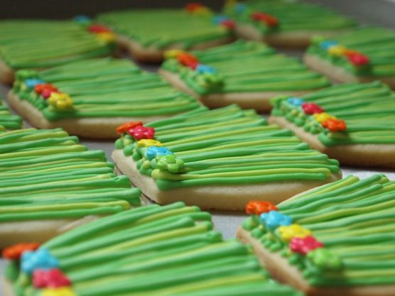 Grass Hula Skirt Sugar Cookies | Make Me Cake Me
