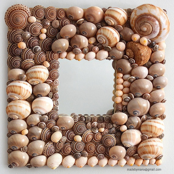 Sophisticated seashell mirror with taupe, grey and tan shells - IPANEMA