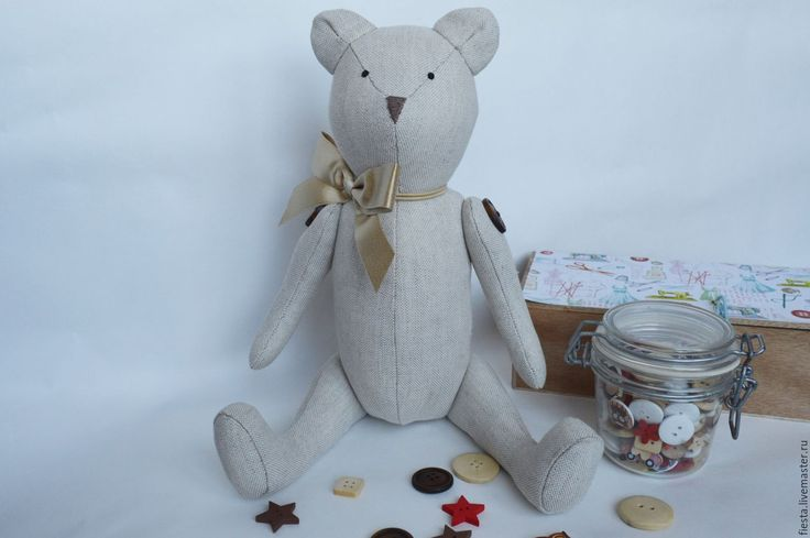 Купить Мишка Тедди - бежевый, натуральный лен, игрушка ручной работы, игрушка, мишка