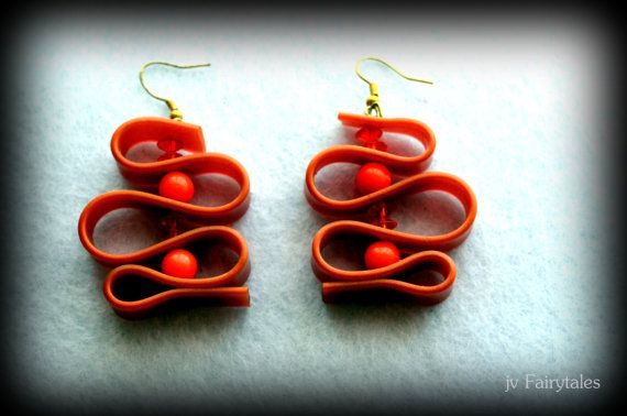 Orange Rubber Caoutchouc Earrings by jvFairytales on Etsy