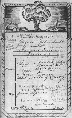 8th great grandparents Jacques and Francoise (Toureau) Archambault Marriage  24 Jan 1629 St hilibert Du Pont Charrault, La Roche-sur-Yon, Vendee, France  (Thank You Judy Hyde Weaving).