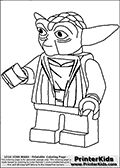 Coloring page with a Lego Yoda figure that is drawn reaching out with the left hand as if to shake the hand of someone. The Lego Yoda colouring sheet for printing has the Star Wars character drawn with casual master clothing on. The Handshaking Lego Yoda coloring page is made with Lego figure filling almost the entire A4 sized sheet. Print and color this LEGO Star Wars page that is drawn by Loke Hansen (http://www.LokeHansen.com) based on the popular LEGO StAR WARS games and figures.