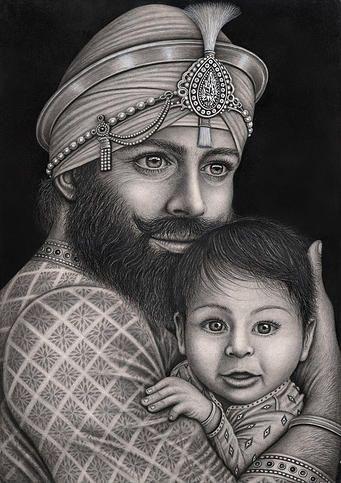 An Image of Guru Gobind Singh Ji at 22 years old with his first born, Baba Ajeet Singh Ji. Absolutely Beautiful.