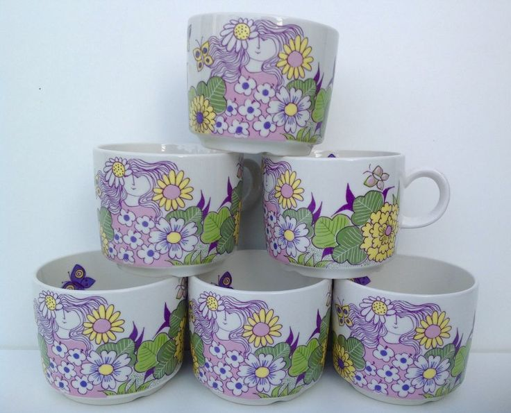 Six Figgjo Flint Turi-Design Cups. Victoria Pattern.