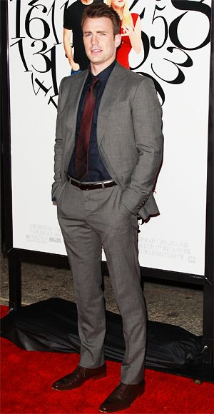 Captain America's Chris Evans gave his gray suit and black shirt a pop of color with a burgundy tie.