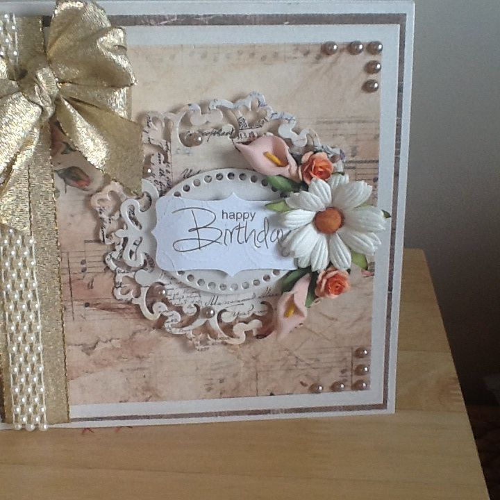 To make this card, I have used grand squares. Parisian motif die for the centre. The papers are from LOTV and the flowers are from Wild Orchid