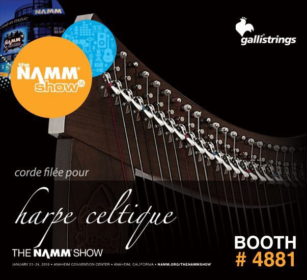 The NAMM Show, January 21-24, 2016, Anaheim, CA The NAMM Show Hall C - Booth #4881 The NAMM Show #gallistrings #harp #strings #harppedales #harpceltique #NAMM16 @nammorg