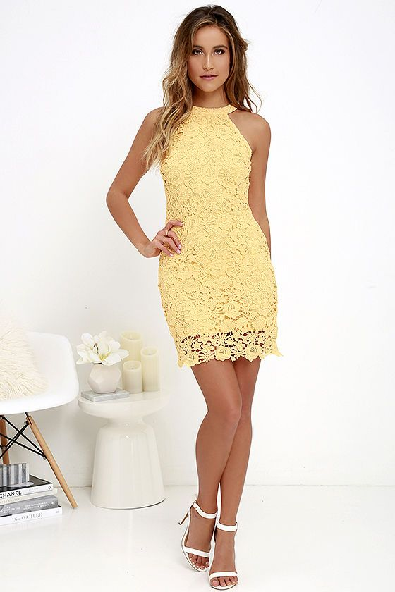 You'll be collecting notes from secret admirers right and left when you don the Love Poem Yellow Lace Dress! A lively pattern of floral lace creates an eye-catching overlay atop knit fabric. Halter neckline and darted sleeveless bodice transition into a chic, sheath skirt. Hidden back zipper with clasp.