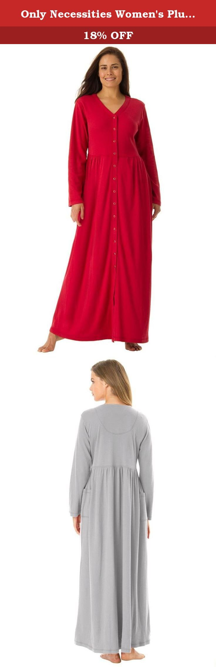 """Only Necessities Women's Plus Size Long Knit Lounger Classic Red,2X. is beautiful and flattering, with lots of room to move. Woman Within provides the most comfortable fit in plus size sleepwear. Tagfree Long sleeves V-neck Snap front Shirred empire waist 2 patch pockets Full sweep skirt 52"""" long Washable polyester/cotton knit, USA or imported Women's plus size robes & plus size sleepwear in sizes M(14W-16W), L(18W-20W), 1X(22W-24W), 2X(26W-28W), 3X(30W-32W), 4X(34W-36W), 5X(38W-4."""