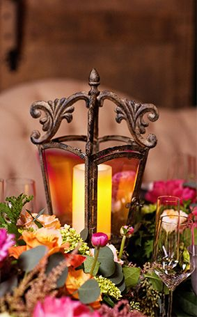 Lantern centerpieces are a must for a Disney Rapunzel inspired wedding reception