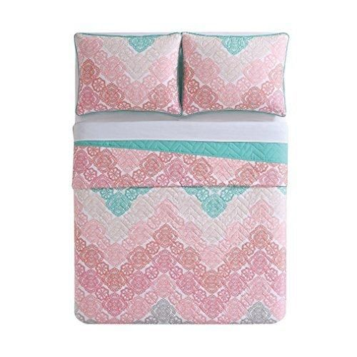 Twin Pink Brown Bohemian Quilt Set Light Green Antique Lace Chevron Casual Floral Zig Zag V Shaped Jagged Lines Pattern Classic Adult Bedding Master