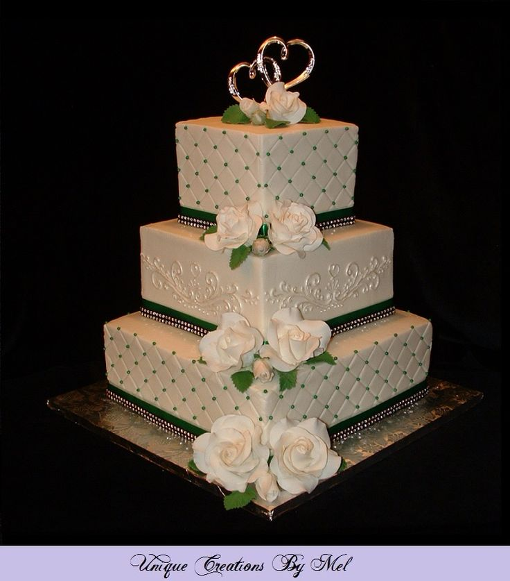 3 Tier Square Wedding Cake With Buttercream Icing White Roses Emerald Green Pearls