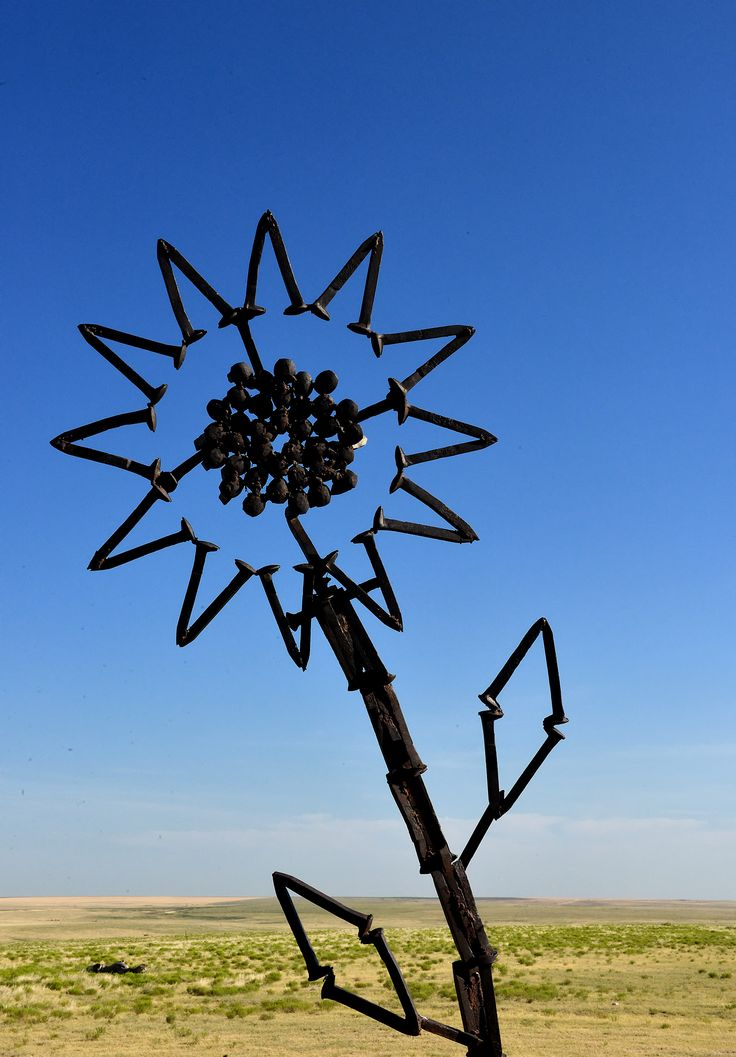 The sunflower sculpture at Mount Sunflower is made from railroad spikes.