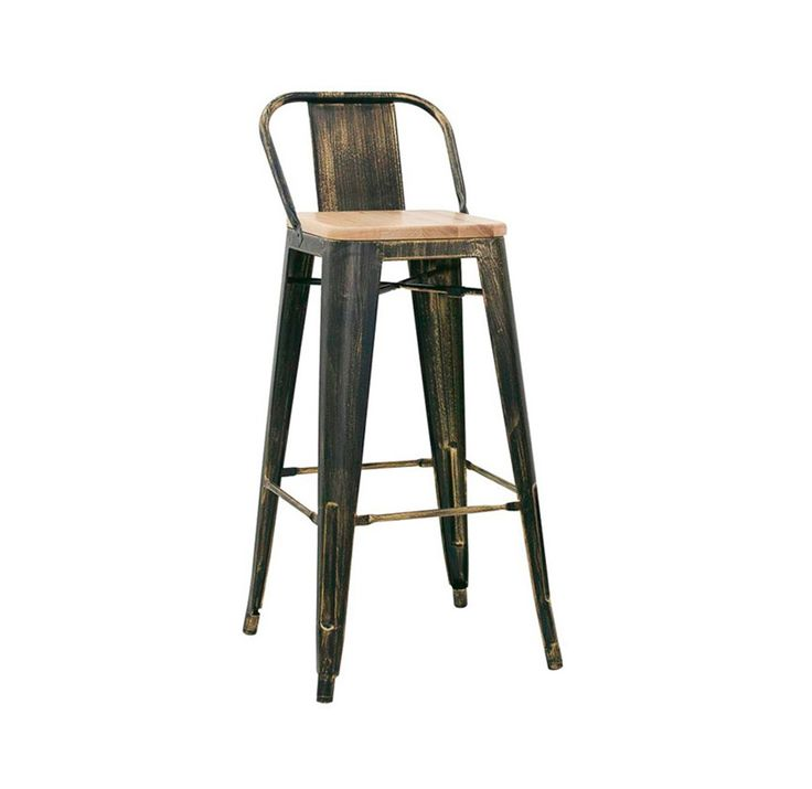 Sgabello industrial con seduta in legno Francoforte - Sgabello con schienale e seduta in legno, con struttura in metallo verniciato, effetto anticato.