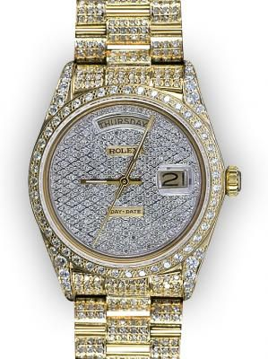 17 best images about diamond watches men cartier men s yellow gold pave dial full pave rolex day date super president