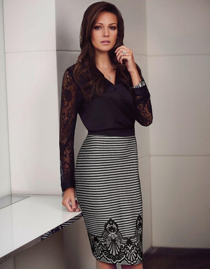 Michelle Keegan Striped Lace Hem Pencil Skirt