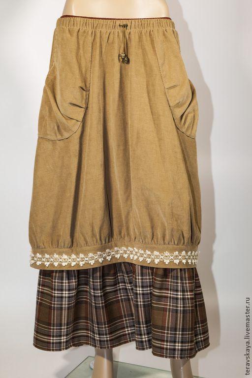 Купить Юбка Бохо Сиена - вельветовая юбка, юбка-пачка, юбка бохо, юбка длинная