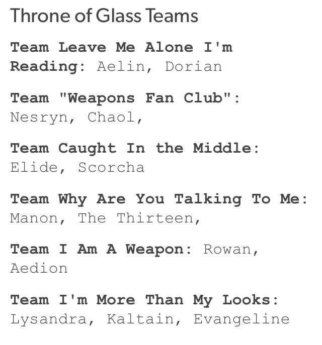Definitely part of teams: Leave me alone, Im reading; weapons fan club; why are you talking to me