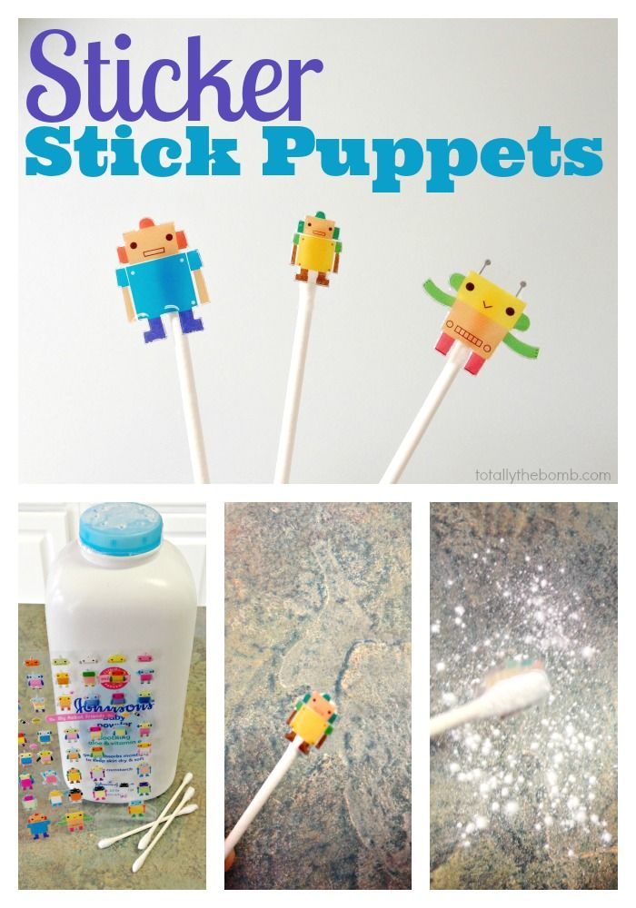 Sticker Stick Puppets Make Sticker Stick Puppets   Been doing this for years, great for puppet plays or for centers