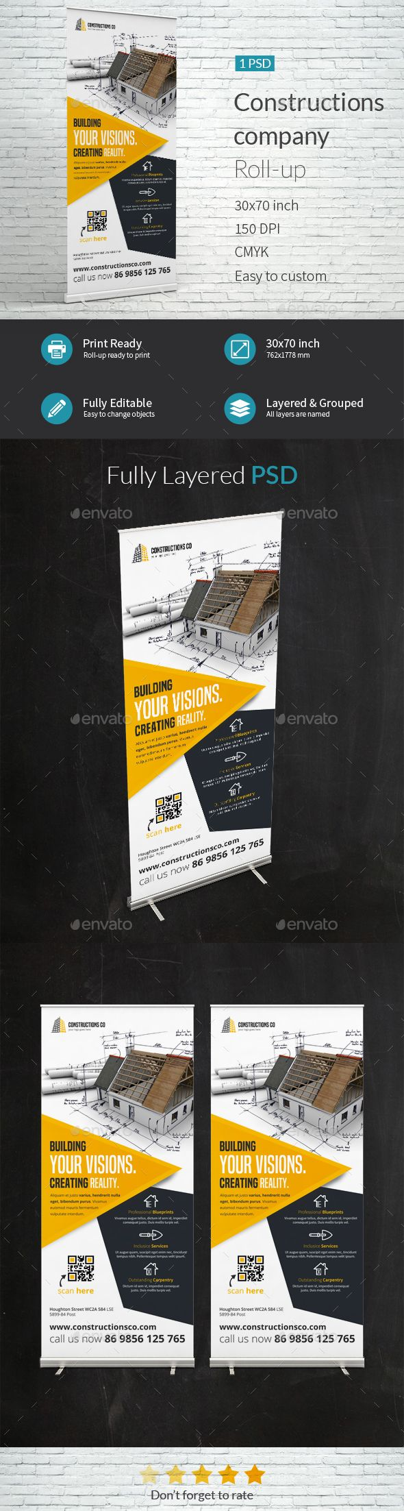 Construction Company Roll-up Template PSD. Download here: http://graphicriver.net/item/construction-company-rollup-template/15796329?ref=ksioks