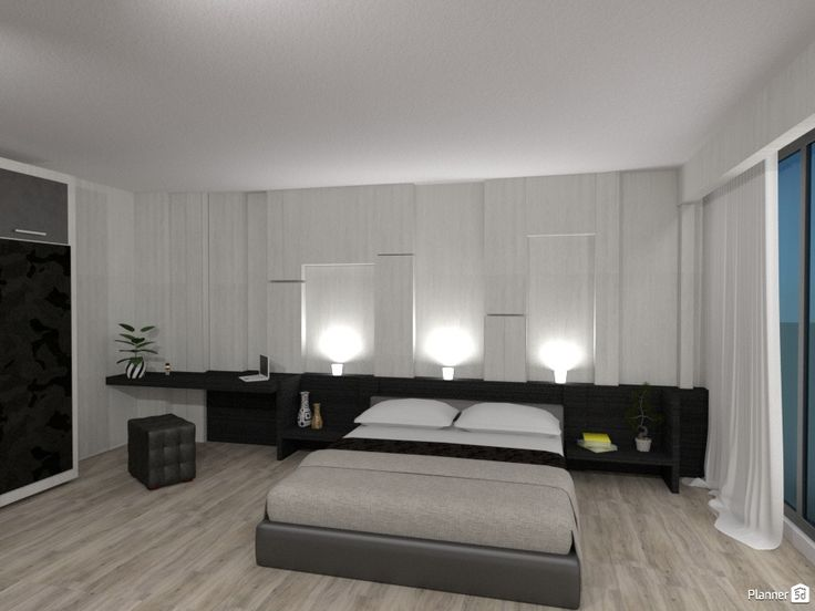 Loft Bedroom Design: Used Colors Are White And Different Combinations Of  Grey. Low Bed