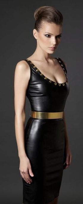 Nadine Zeni little black dress in leather and gold accents
