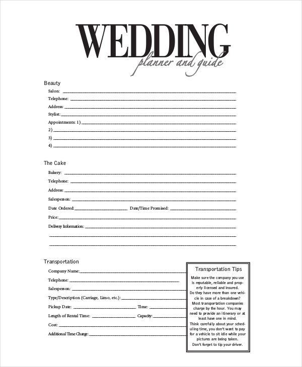 13 best wedding planning forms images on Pinterest Wedding planer