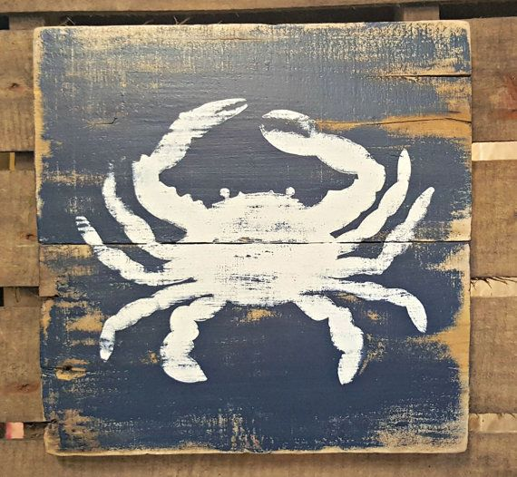 Rustic Reclaimed Distressed Hand Painted Wooden Square Nautical Signs Crab Lobster Pair