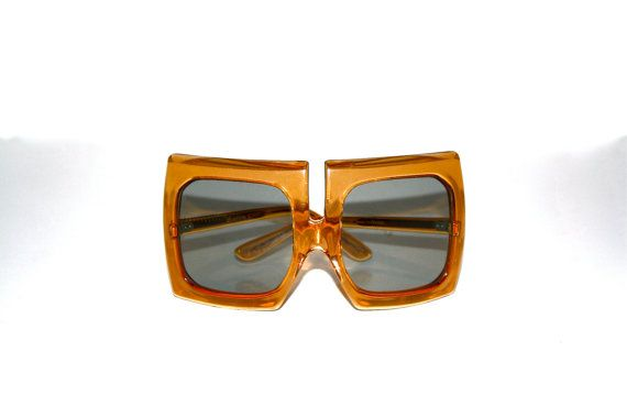 PIERRE CARDIN Vintage lunettes de soleil surdimensionnées énorme carré Orange lunettes de soleil - authentiques-