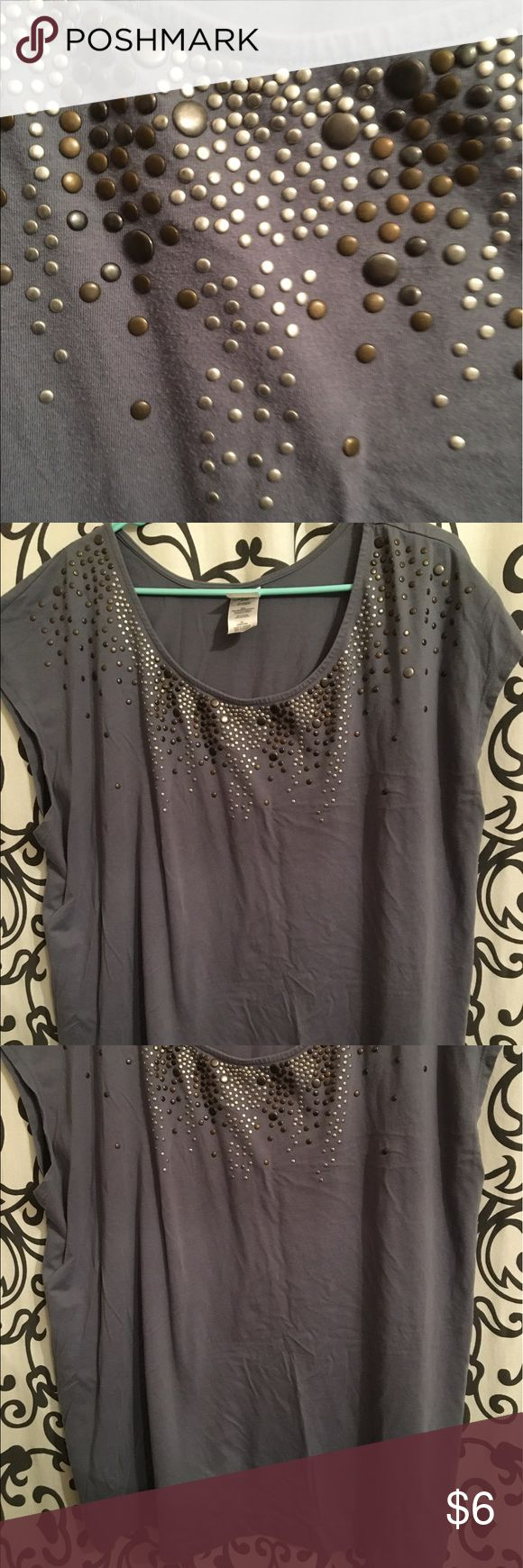 Just my size gray stud shirt Like new used once very comfortable casual but yet a but classy I love this shirt really cute on . Just My Size Tops Blouses