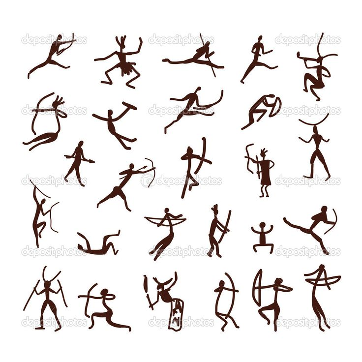 pinturas rupestres, pueblo étnico boceto para su diseño - Ilustración de stock: 42702419