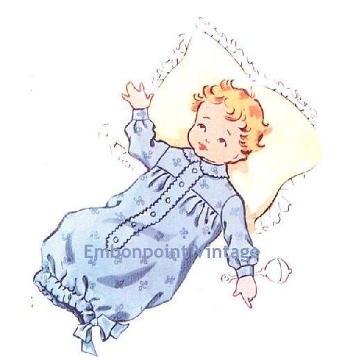 Vintage 1950s Baby's Nightgown Pattern - PDF - Pattern No 199 Robin