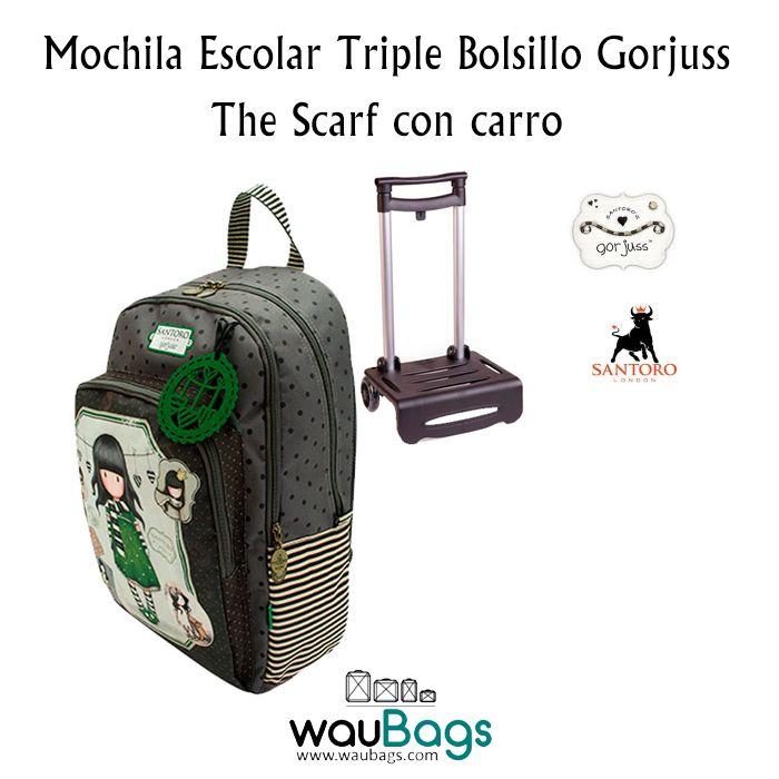 """La Mochila Escolar Triple Bolsillo Gorjuss con el diseño """"The Scarf"""" tiene dos compartimentos con cierre de cremallera y un bolsillo frontal, también con cremallera, con tres compartimentos para bolis y un bolsillo para el móvil, la agenda,…  @waubags.com #gorjuss #santorolondon #mochila #escolar #carro #cole #waubags"""
