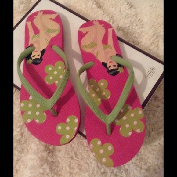 Flip flops Pink and green Hawaiian flip flops Shoes