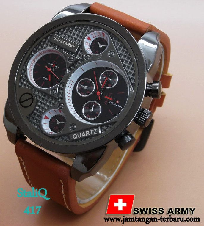 Swiss Army BA405L Brown Leather List Red - Jam Tangan Terbaru | Jam Tangan Keren