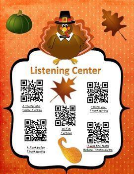 Instant Listening Center - Nov. QR Codes - Listen to Reading FREE