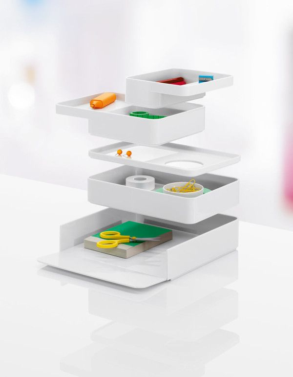 Sam Hecht and Kim Colin, of Industrial Facility, designed a stackable collection of desk accessories for Herman Miller called Formwork