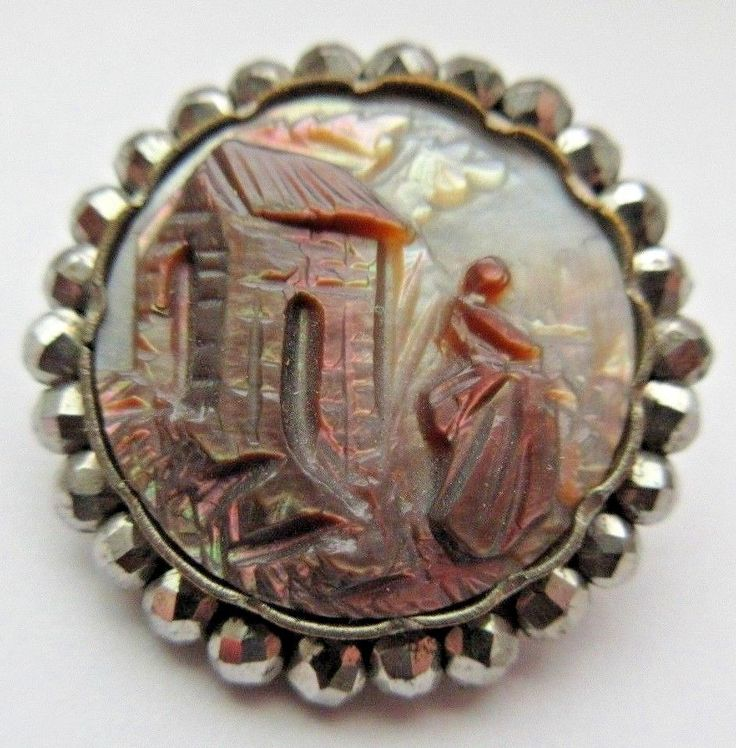 Breathtaking Antique Victorian Carved MOP Shell Cameo BUTTON w/ Cut Steel Rim